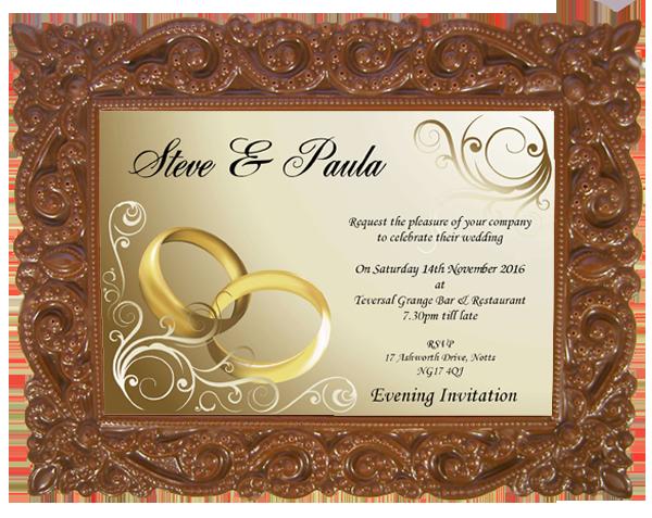 Personalised Printed Wedding Chocolate Frame VICTORIAN