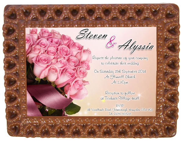 Personalised Printed Wedding Chocolate Frame HEARTS