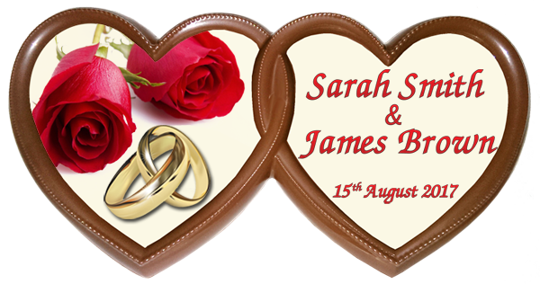 Personalised Printed Wedding Chocolate Frame TWIN HEARTS