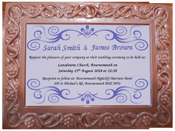 Personalised Printed Wedding Chocolate Frame Flowers & Leaves