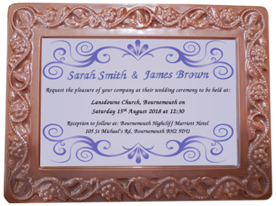 Personalised Printed Wedding Chocolate Frame Flowers & Leaves