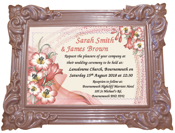 Personalised Printed Wedding Chocolate Frame  TRADITIONAL