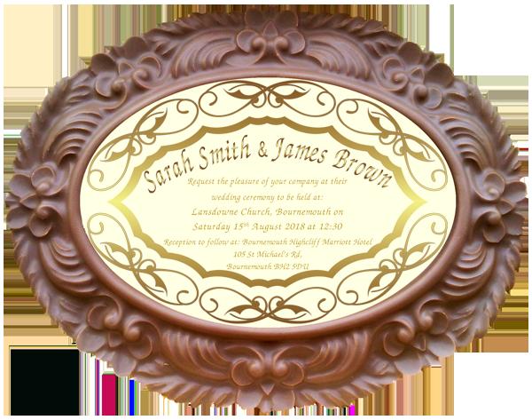 Personalised Printed Wedding Chocolate Frame Frame OVAL