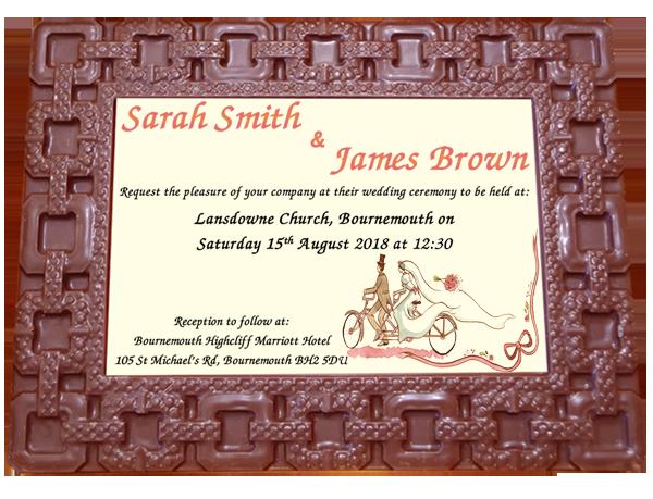 Personalised Printed Wedding Chocolate Frame  SQUARES