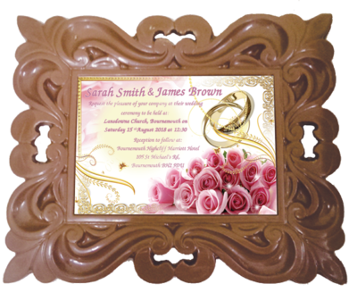 Personalised Printed Wedding Chocolate Frame CLASSIC