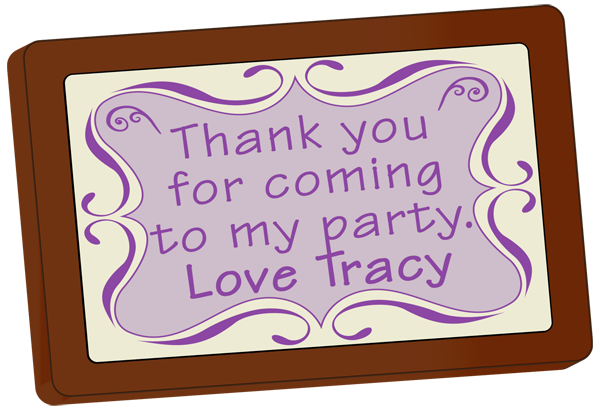 Personalised printed Party Chocolate Small Message Card