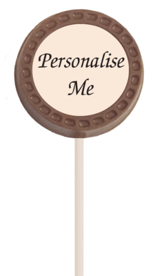 Small Personalised Printed Belgian Chocolate Lollipop