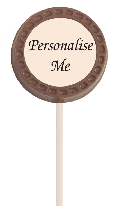 Small Personalised Printed Belgian Chocolate Lollipop