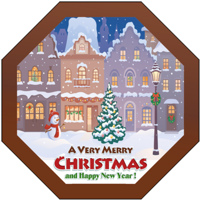 Christmas Card Printed Belgian Chocolate Octagonal Plaque