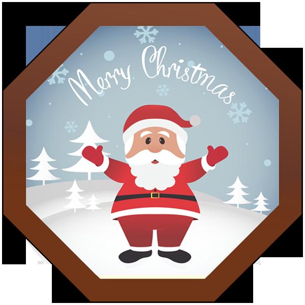 Christmas Card Printed Belgian Chocolate Octagonal Plaque
