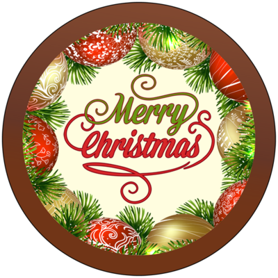 Christmas Card Printed Belgian Chocolate Round Plaque