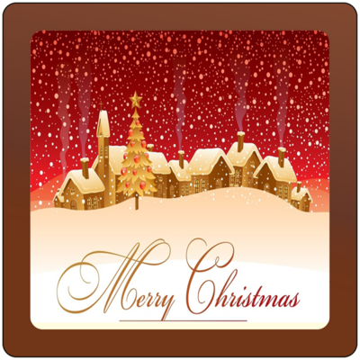 Christmas Card Printed Belgian Chocolate Square Plaque
