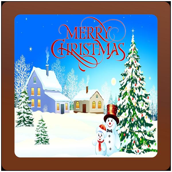 Christmas Card Printed Belgian Chocolate Square Plaque