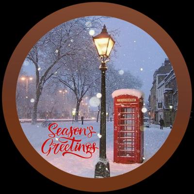 Christmas Card Printed Belgian Chocolate Round Plaque