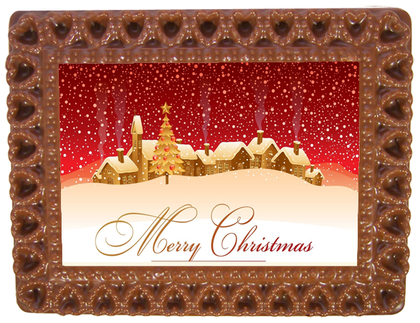 Printed Belgian Chocolate Christmas Card HEARTS