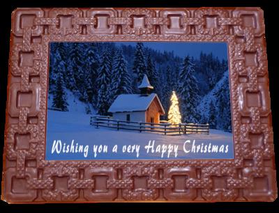 Printed Belgian Chocolate Christmas Card SQUARES