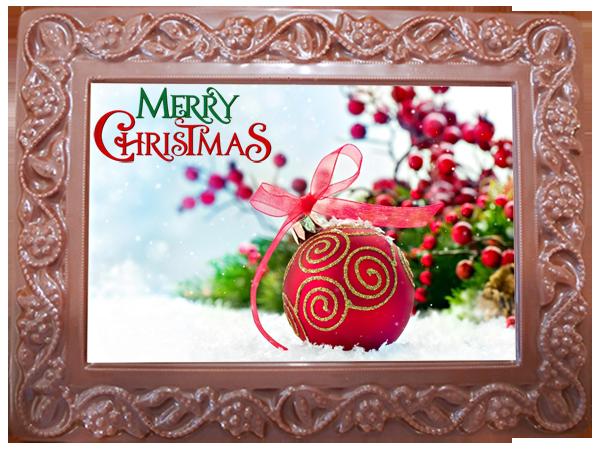 Printed Belgian Chocolate Christmas Card Flowers & Leaves