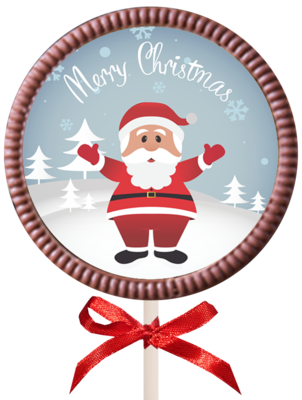 Christmas Printed Round Belgian Chocolate Lollipop