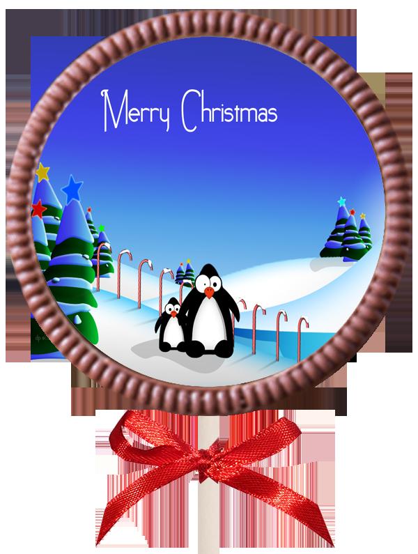 Christmas Printed Round Belgian Chocolate Lollipop