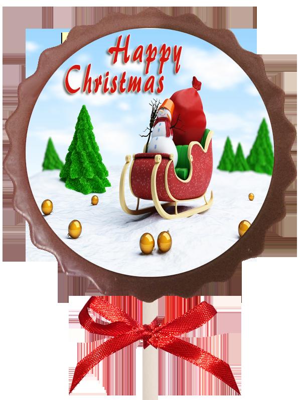 Christmas Printed Flower Belgian Chocolate Lollipop