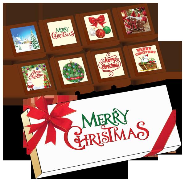 Christmas Printed Belgian Chocolates (Box of 8)
