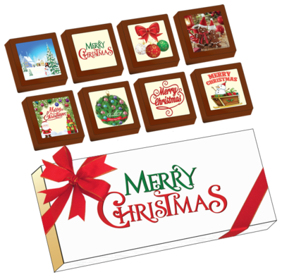 Christmas Printed Belgian Chocolates (Box of 8)