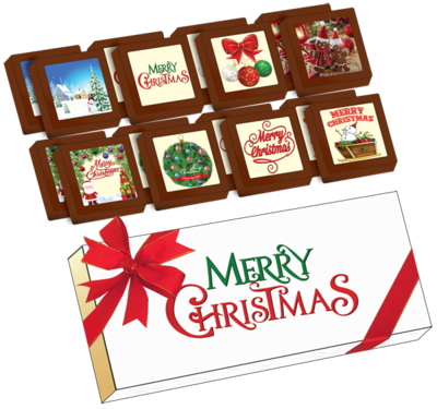 Christmas Printed Belgian Chocolates (Box of 16)