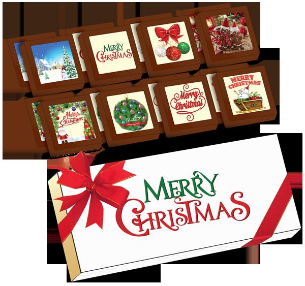 Christmas Printed Belgian Chocolates (Box of 16)