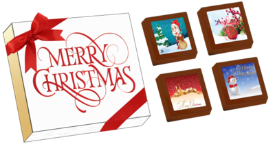 Christmas Printed Belgian Chocolates (Box of 4)