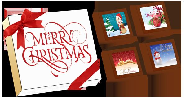 Christmas Printed Belgian Chocolates (Box of 4)