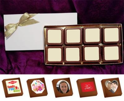 Box of 8 Personalised Printed Chocolates