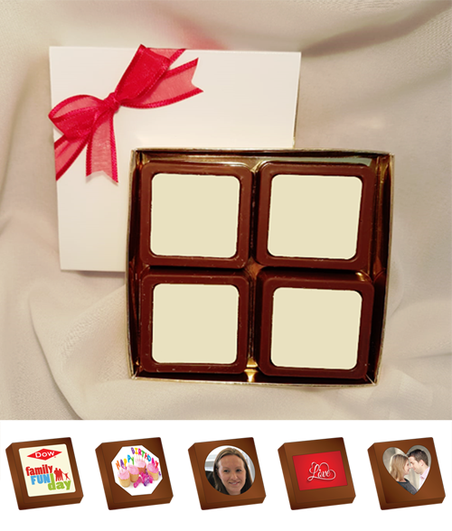Box of 4 Personalised Printed Chocolates