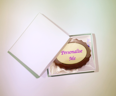 Personalised Printed Belgian Chocolate Oval Mini Frame