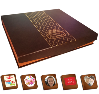 40 Personalised Printed Chocolates in a luxury Box