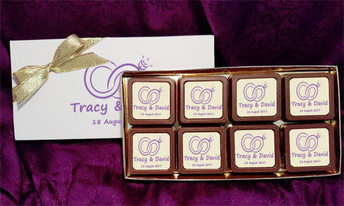 Personalised Printed Wedding Chocolate Favours (Box of 8)