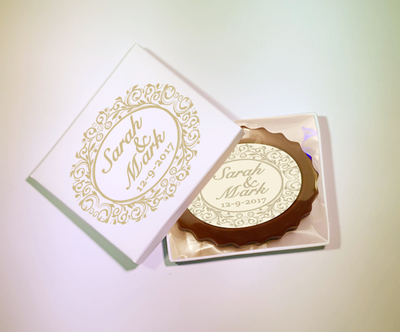 Personalised Printed Wedding Chocolate Mini Frame (Oval)