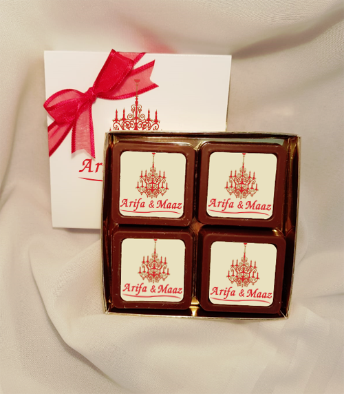 Personalised Printed Wedding Chocolate Favours (Box of 4)