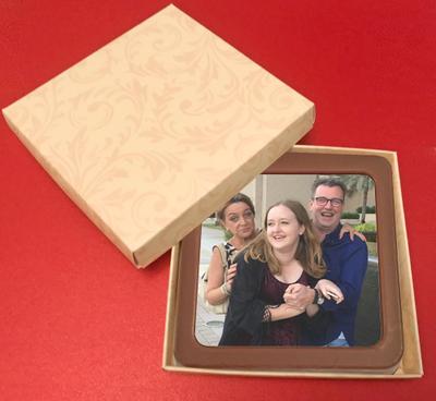 Personalised Printed Belgian Chocolate Square Plaque