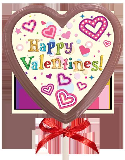 Printed Valentine's Day Chocolate Heart Lollipop