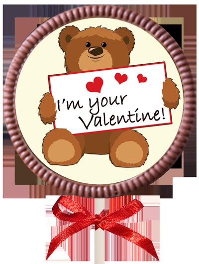 Printed Valentine's Day Chocolate Round Lollipop