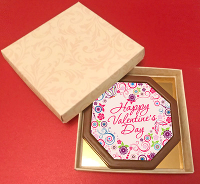 Printed Valentine's Day Chocolate Octagonal Card/Plaque