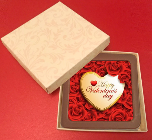 Printed Valentine's Day Chocolate Square Card/Plaque