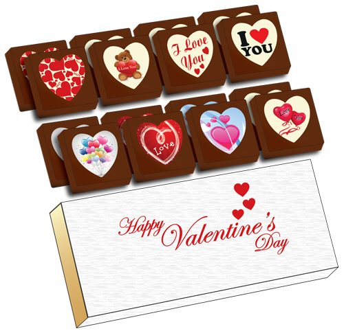 Printed Valentine's Day Chocolate Heart Shapes (Box of 16)