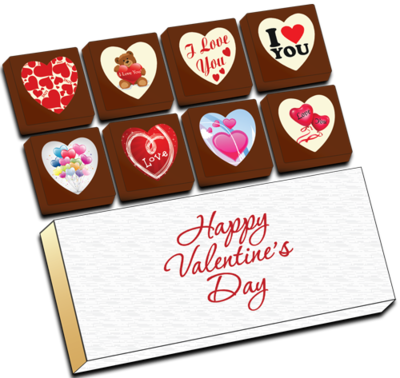 Printed Valentine's Day Chocolate Heart Shapes (Box of 8)