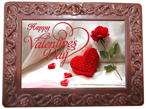 Printed Valentine's Day Chocolate Frame Flowers & Leaves