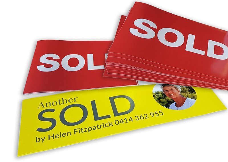 SOLD & Overlay stickers, from $4.28/each.