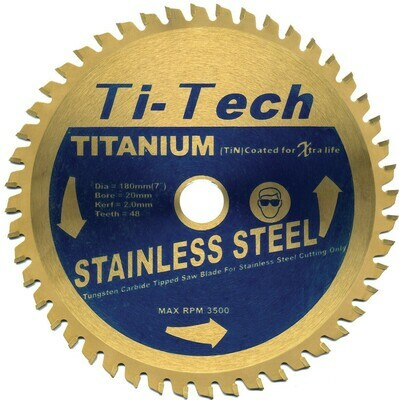180mm x 20mm Bore x 48 Teeth Stainless Steel Cutting TCT Blades