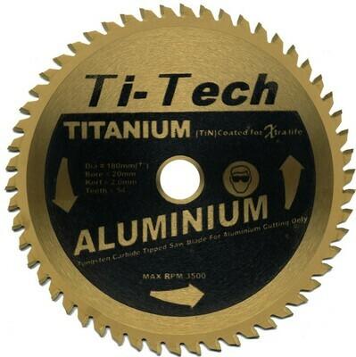 180mm x 20mm Bore x 54 Teeth Aluminium Cutting TCT Blades