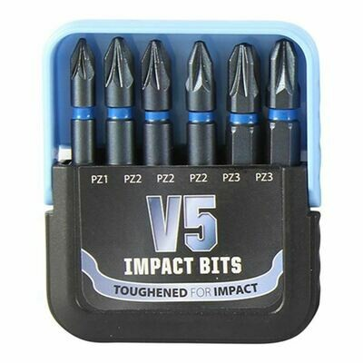 V5 Impact Driver Bit Set 50mm Long - Mixed PZ Bits