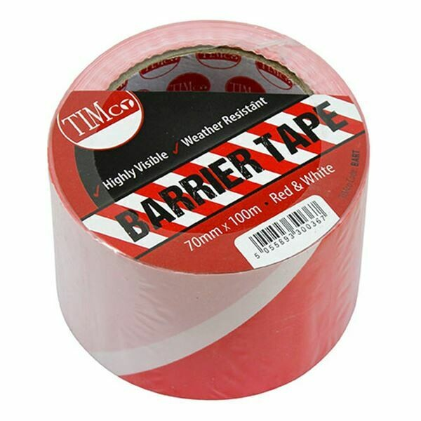 70mm x 100 Metres Red & White Barrier Tape